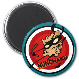 NINJA CHEESE WITH NUNCHUCKS ROUND MAGNET