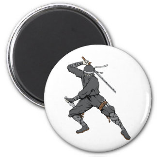 Ninja ~ Ninjas 2 Martial Arts Warrior Fantasy Art 2 Inch Round Magnet