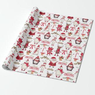 Noël moderne Santa, pingouins et ours blancs Papiers Cadeaux