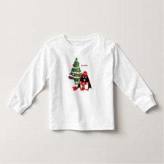 Noël nommé fait sur commande de pingouin doux t shirts