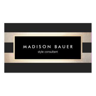 Noir rayé élégant moderne et feuille d'or 2 de carte de visite standard