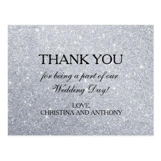 Note argentée élégante de Merci de mariage de Cartes Postales
