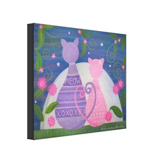 Novembre doux - l'amour de chat de 16x20 Kitty Toiles Tendues