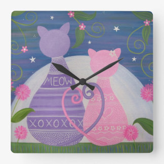 Novembre doux - l'amour de chat de Kitty badine Horloge Carrée