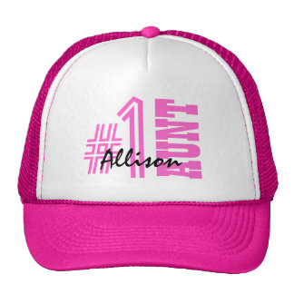 Number One AUNT Custom Name Gift Collection Pink Trucker Hat