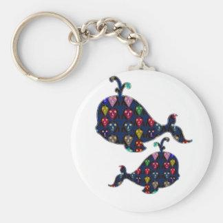 NVN85 WHALE fish aquatic aquarium NavinJOSHI art Basic Round Button Keychain