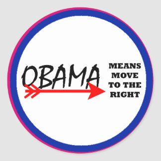 OBAMA Means Move To The Right The MUSEUM Zazzle Round Sticker