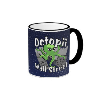 Octopii Wall Street - Occupy Wall St! Ringer Coffee Mug