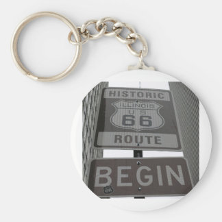 Official Route 66 begin sign Basic Round Button Keychain
