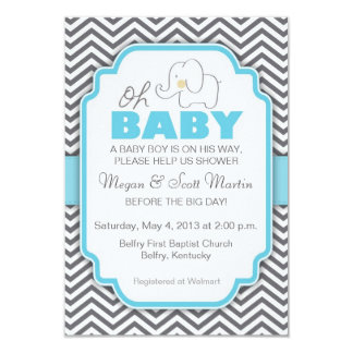Oh Baby Elephant - Blue & Gray Baby Shower Invite