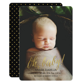 'Oh, baby!' Gold Faux Foil | Birth Announcement