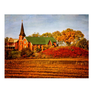 Old Church with Fall Colors Postcard