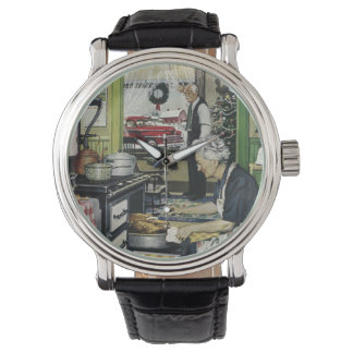 Old Fashioned Vintage Home Kitchen Christmas Wristwatch