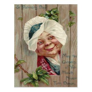 Old Lady Smile Shamrock Fence Bonnet Postcard