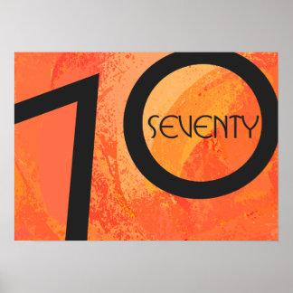 Orange 70 Decade Birthday Poster