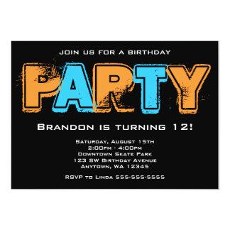 "Orange and Blue Grunge Birthday Party 5"" X 7"" Invitation Card"