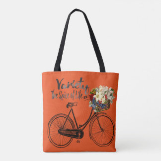 Orange tote bag Variety the spice of life bike