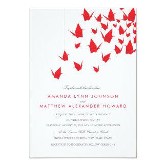 "Origami Paper Cranes Wedding 5"" X 7"" Invitation Card"