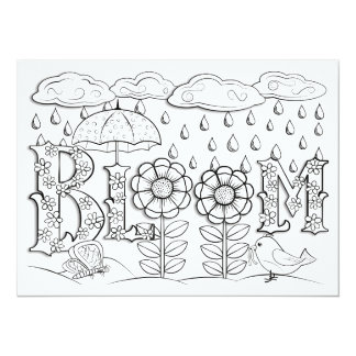 "OrnaMENTALs Bloom Flowers and Rain Color Your Own 5.5"" X 7.5"" Invitation Card"