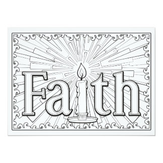 "OrnaMENTALs Faith Candle Glow Color Your Own 5.5"" X 7.5"" Invitation Card"