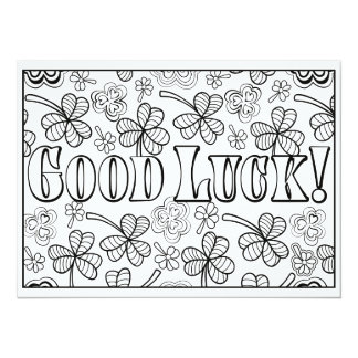 "OrnaMENTALs Good Luck Shamrocks Color Your Own 5.5"" X 7.5"" Invitation Card"