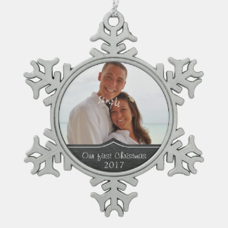 Our First Christmas with  Photo Pewter Snowflake Ornament