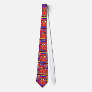 OWL Artistic Bird Prey Colorful Red GIFTS Greeting Tie