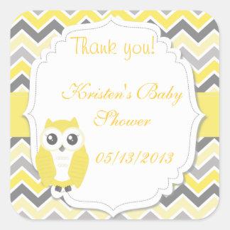 Owl Baby Shower Sticker Yellow Chevron