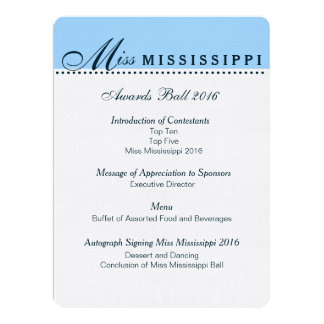 "Pageant Awards Ball Program 6.5"" X 8.75"" Invitation Card"