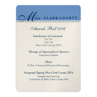 """Pageant Awards Ball Program in Champagne 6.5"""" X 8.75"""" Invitation Card"""