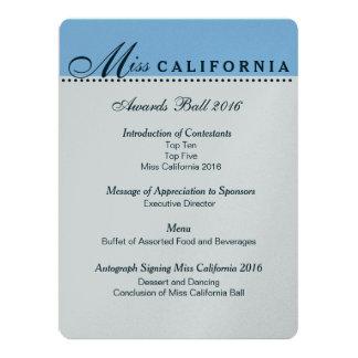 "Pageant Awards Ball Program in Metallic Silver 6.5"" X 8.75"" Invitation Card"