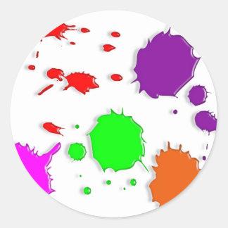 Paint Splatters Round Sticker