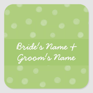 Painted Dots green Wedding Square Sticker