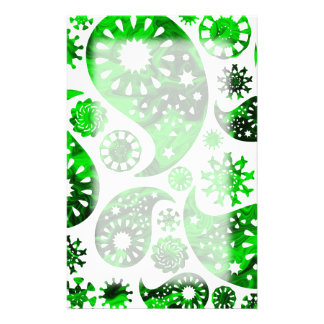Paisley with Green Swirl Pattern. Personalized Stationery