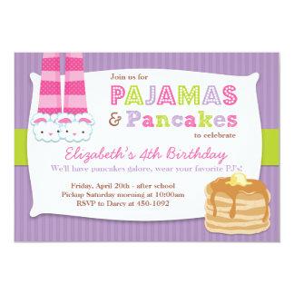 """Pajamas and Pancakes Birthday Party Sleepover 5"""" X 7"""" Invitation Card"""
