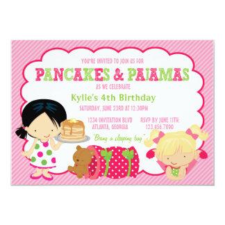 """Pancakes and Pajamas Sleepover Party 5"""" X 7"""" Invitation Card"""