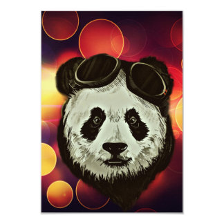 "Panda Bear with Bokeh Art 3.5"" X 5"" Invitation Card"