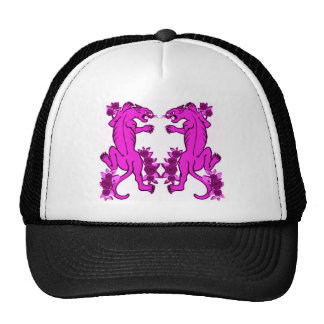 PANTHER PAIR TATTOO ART PRINT IN PINK TRUCKER HAT