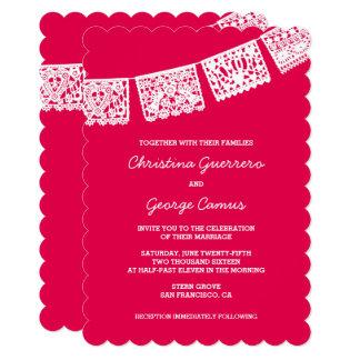 Papel Picado Hot Pink   Wedding Invitation