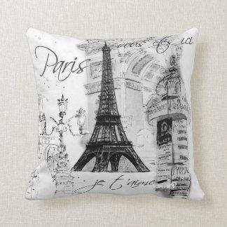 Paris Eiffel Tower Collage Black & White Pillows