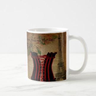 paris eiffel tower flower vintage corset classic white coffee mug