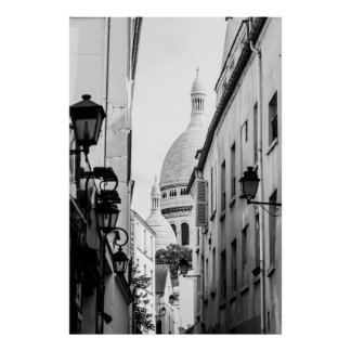 Paris Sacre-Coeur in Black and White Poster