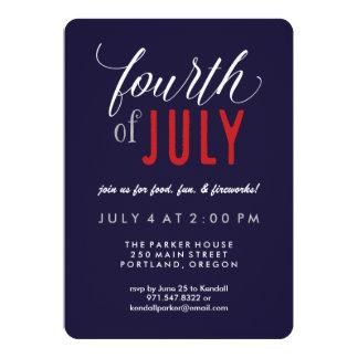 Partie patriotique de typographie moderne 4 carton d'invitation  12,7 cm x 17,78 cm