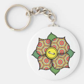 Patchwork Flower - 004 Basic Round Button Keychain