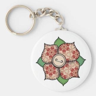 Patchwork Flower - 009 Basic Round Button Keychain