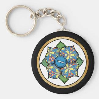 Patchwork Flower - 01 Basic Round Button Keychain