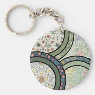 Patchwork in Green Basic Round Button Keychain