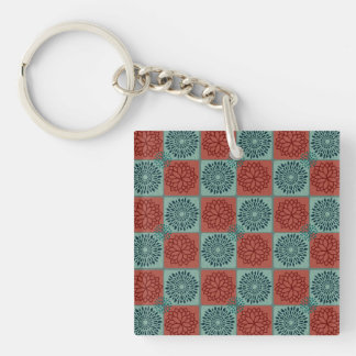 Patchwork Quilt Pattern Red Blue Flower Art Design Double-Sided Square Acrylic Keychain