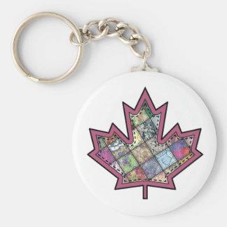 Patchwork Stitched Maple Leaf  5 Basic Round Button Keychain