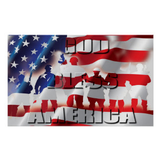 Patriotic God Bless America Gorgeous Printed Poster